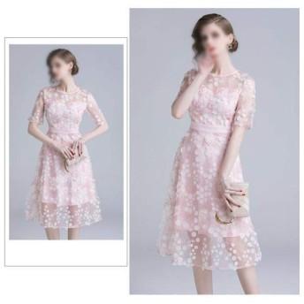 ヴィンテージウエストドレスサマーピンクメッシュ立体刺繍ドレス (Color : Pink, Size : 2XL)