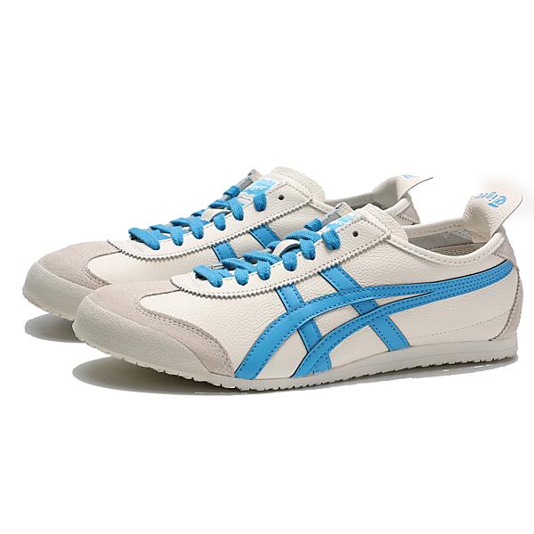 ASICS MEXICO 66 米白 皮革 麂皮 水藍LOGO 休閒鞋 男女 情侶鞋 (布魯克林) 1183A201105