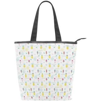 KENADVIトートバッグ 最高級 軽量 キャンバス レディース ハンドバッグ 通勤 通学 旅行バッグ、80年代Ninetiesmedアイスクリームパイナップルデザインレトロ、スタイリッシュ グラフィックス 収納袋