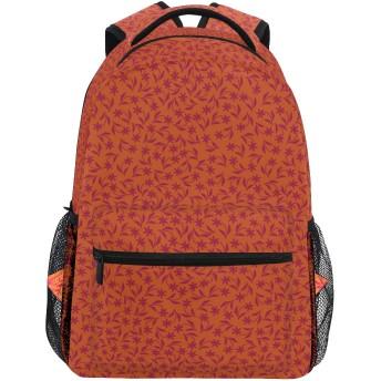 NR 新しい軽量おしゃれ学校バックパックオレンジマルーンスプリングフラワープリント旅行ハイキングキャンプバッグ多機能 遠足 おしゃれ