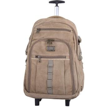 バッグパック カート 子供用 かわいい ハイキングバックパック、学生のバックパック、ローリングバックパックホイルラップトップバックパックビジネストラベルウィールドローリングトロリーバックパックスーツケースハンド荷物バッグケース、カーキ、ミディアム