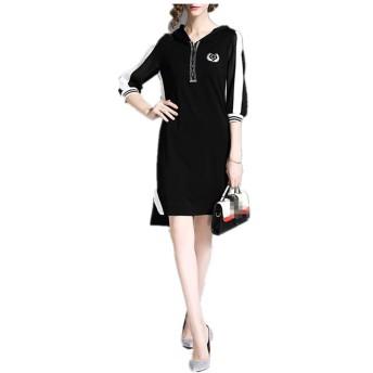 WUSDJAJJ 女性のカジュアルファッションメッシュの見通しの分割ドレス (Color : Black, Size : XXL)