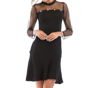 WUSDJAJJ と冬の女性はステッチビーズ長袖のドレスをフラウンス付きのレース (Color : Black, Size : L)