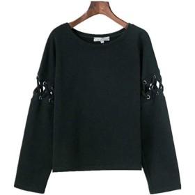 Nunulu 女性用長袖クルーネックレースアッププルオーバートップスブラウス (色 : ブラック, サイズ : L)