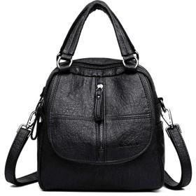 ミニリュック レディース 女性のバックパック財布3つの方法pu洗練されたレザーレディースリュックサックショルダーバッグ用仕事学校旅行 通勤 通学 旅行 (Color : Black, Size : Free size)