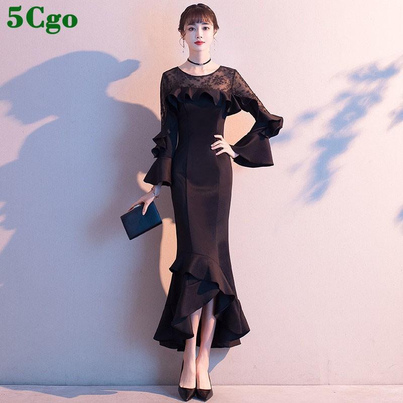 5Cgo【鴿樓】 黑色晚禮服裙女新款宴會氣質長袖氣場女王年會長款魚尾主持人喇叭袖魚尾 608857882631