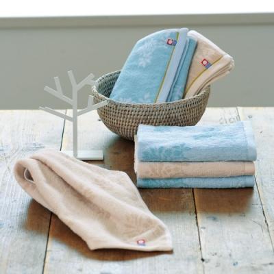 日本派迪 今治100%純綿精緻匠彩文樣毛巾二入組(奶茶色+水藍色)