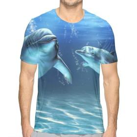 海洋海イルカ XL Tシャツ トップス クルーネック みんな スポーツシャツ 半袖 シンプル 個性 無地 おしゃれ アウトドア 春夏 ハイクオリティー ライトウェイト