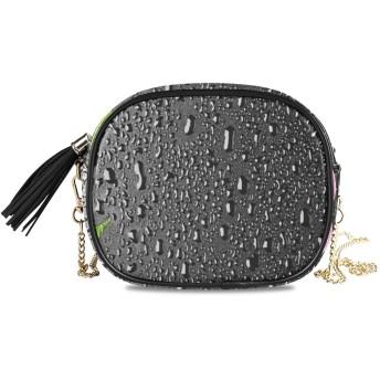 NIESIKKLA レディース チェーンバッグ、おしゃれ ミニ グ ショルダーバッグ シンプル 合わせやすい 多機能 結婚式 パーティーバッグ、ピンクの蘭と玄武岩の石、黒の背景
