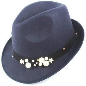 ファッションレディースメンズ冬の帽子ウールポリエステルのFedoraハットパールの装飾 ハット (Color : Navy blue, Size : 58CM)
