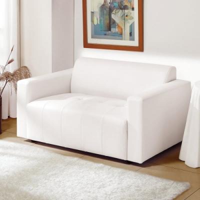 MUNA 柏莎二人座白色皮沙發 123X76X68cm