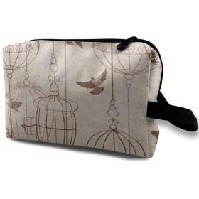 鳥群れ メイクポーチ 化粧ポーチ 化粧品収納 コスメポーチ 化粧バッグ 小物入れ 収納ポーチ トラベルポーチ コンパクト 大容量 機能的 ブラシ バッグ 旅行 携帯便利