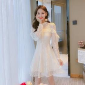 パーティードレス 結婚式 二次会 ワンピース 大きいサイズ ミニ ホワイト ピンク 袖あり フレア レース 大きいサイズ 体型カバー 結婚式
