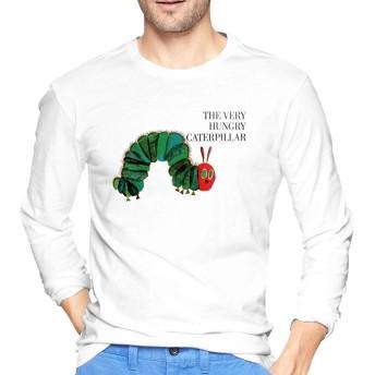 The Very Hungry Caterpillar はらぺこあおむし 絵本 Tシャツ メンズ 長袖 春秋最適 100%コットン プリントティーシャツ 丸ネック ショートスリーブオシャレ カジュアル 通学 通勤 カップル服