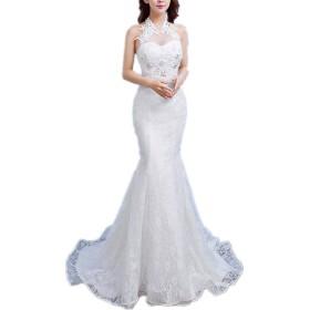 ロングドレス カラードレ 肩のレースの長いイブニングドレスのウエディングドレスをオフ人魚のウエディング 多彩 花嫁の介添え 通勤 二次会 (Color : White, Size : XL)