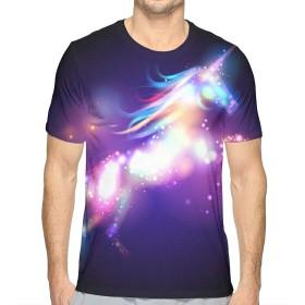 シャイニーレインボーユニコーン S Tシャツ トップス クルーネック みんな スポーツシャツ 半袖 シンプル 個性 無地 おしゃれ アウトドア 春夏 ハイクオリティー ライトウェイト