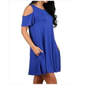 WUSDJAJJ ショルダーレス蓮の葉のスリーブルーズサイズの半袖のドレス (Color : Blue, Size : L)