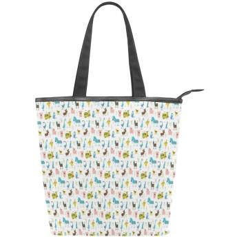 KENADVIトートバッグ 最高級 軽量 キャンバス レディース ハンドバッグ 通勤 通学 旅行バッグ、ファーム動物パターン豚オンドリ牛馬羊落書きスタイル、スタイリッシュ グラフィックス 収納袋