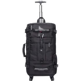 バックパック、屋外多機能スポーツ大容量トロリーバックパック、旅行防水耐摩耗ソリッドカラーハンドバッグ、ブラック、オックスフォード織物素材、31  20  54センチメートル バックパック