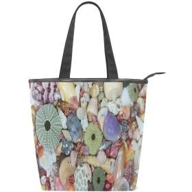 KENADVIトートバッグ 最高級 軽量 キャンバス レディース ハンドバッグ 通勤 通学 旅行バッグ、さまざまなカラフルな大きな小さな貝殻海岸のクローズアップ、スタイリッシュ グラフィックス 収納袋