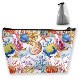 水彩の魚 化粧ポーチ メイクポーチ ミニ 財布 機能的 大容量 ポータブル 収納 小物入れ 普段使い 出張 旅行 ビーチサイド旅行