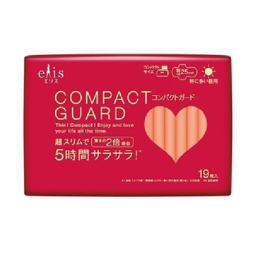日本大王 elis 愛麗思 COMPACT GUARD GO可愛衛生棉-日用超薄25cm(19片)[大買家]