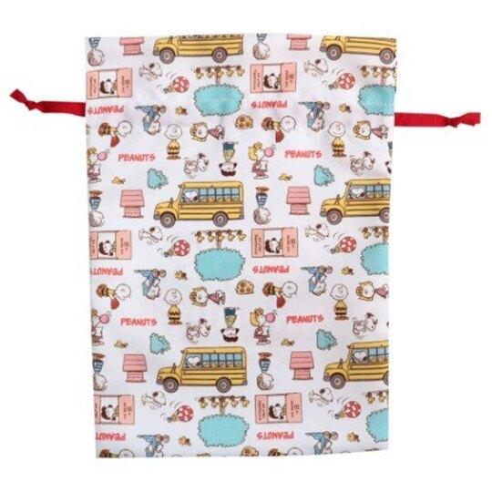【領券折$30】小禮堂 史努比 棉質束口袋《紅白.排坐文字》22x30cm.縮口袋.收納袋