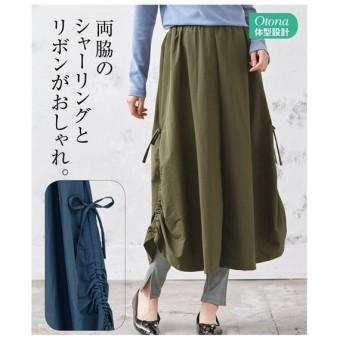 スカート ロング丈 マキシ丈 大きいサイズ レディース シャーリング デザイン  LC/LLC/3LC ニッセン