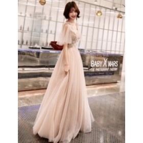 ウェディングドレス カラードレス 花柄 刺繍 ドレス リボン チュール レースアップ パステル ピンク 大きいサイズ ドレス 結婚式