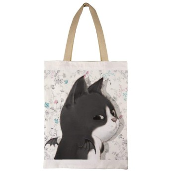 太った小さな黒い猫 女性のトートバッグコットンA4互換大容量シングルバックパックハンドバッグ通勤学校 両面印刷