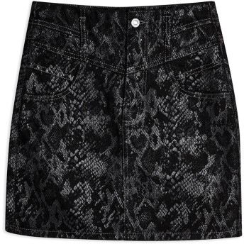 《セール開催中》TOPSHOP レディース デニムスカート ブラック 6 コットン 100% BLACK SNAKE PRINT MINI SKIRT