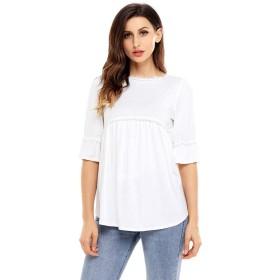 女性のTシャツ、スタイリッシュなソリッドカラープリーツラウンドネックフリル半袖ルーズウエストサマーカジュアルトップ,b,L