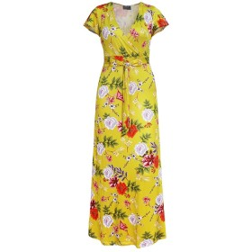 女性のボヘミアン花柄Vネック半袖ビーチパーティーマキシドレス