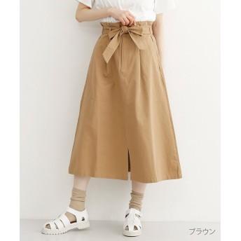 メルロー フロントスリットウエストリボンスカート レディース ブラウン FREE 【merlot】