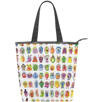 KENADVIトートバッグ 最高級 軽量 キャンバス レディース ハンドバッグ 通勤 通学 旅行バッグ、アニメーションBaby Mosters Cartoon Print、スタイリッシュ グラフィックス 収納袋