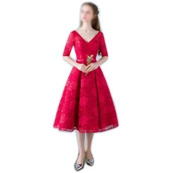 女性のためのミディアム丈ウェディングイブニングドレスレッドVネック半袖 (Color : Wine Red, Size : XL)