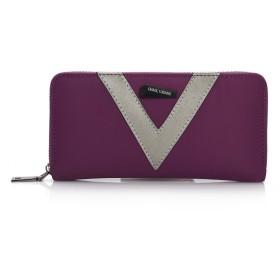 女性の財布 レディース 女性の財布付きカードスロットナイロンハンドバッグユニセックスバッジ装飾ワニテクスチャ大容量携帯電話バッグ財布ショッピング旅行 財布 大容量 (Color : V purple)