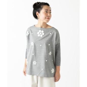 BEARDSLEY / ビアズリー 花サガラ刺繍ニット
