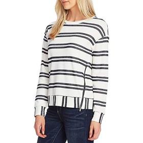 ヴィンスカムート トップス Tシャツ Long Sleeve Striped Knit Pullover Cotton Caviar レディース [並行輸入品]