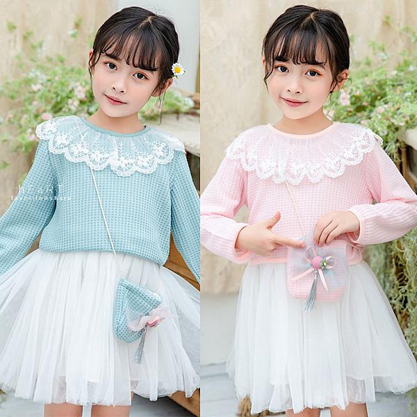 日系格子蕾絲領上衣+紗裙洋裝 附小包包 童裝 長袖上衣 連身裙 連衣裙
