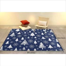 フロアマット 大判 青色の背景に休日パターンクリスマス装飾フォレスト大型デスク足元マット フローリング/畳/床暖房対応(213×152cm 厚1.5mm)