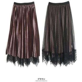 (GROWINGRICH/グローウィングリッチ)[ボトム スカート]チュール×ベロアリバーシブルスカート[191025]/レディース ブラウン