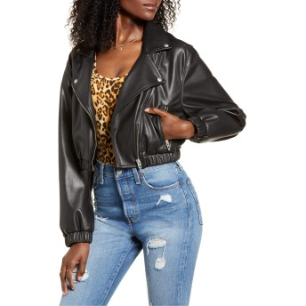 [ブランクニューヨーク] レディース ジャケット・ブルゾン BLANKNYC Drop Shoulder Faux Leather Crop [並行輸入品]
