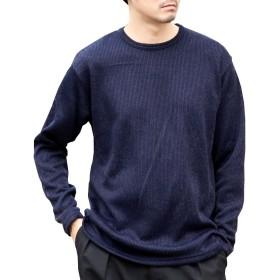 (アークティックプラント) Arctic Plant メンズ ローゲージ 編み ニット 無地 クルーネック 長袖 セーター ネイビー L