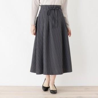 オペークドットクリップ(OPAQUE.CLIP)/【洗える】ウエストリボン総柄フレアスカート