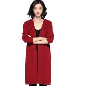 JPAKIOS ポケットビッグコートジャケットでカジュアル女性の長いオープンフロントパーカーニットセーターカーディガン (色 : レッド, サイズ : XL)