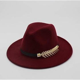 CHENTAOCS フェルトハットのFedoraハットレディヴィンテージハットウールFedoraの帽子暖かいジャズハット 製品 (色 : Wine red)
