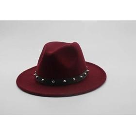 CHENTAOCS レディースウール帽子リベットリボン優雅な女性帽子冬秋つばの広い帽子ジャズ 製品 (色 : Wine red)
