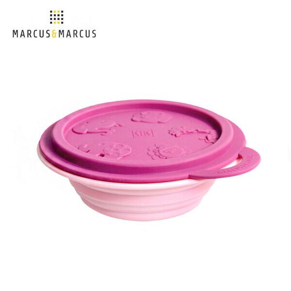 marcus & marcus 動物樂園矽膠摺疊碗-粉紅豬(紫紅碗蓋/粉紅碗)