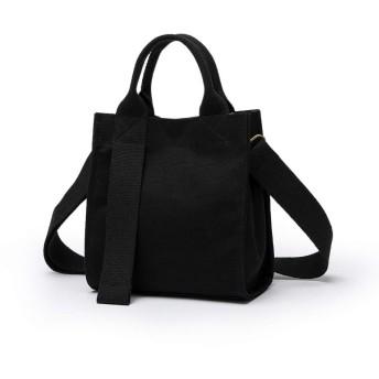 キャンバスバッグ女性メッセンジャーバッグ新しい文学小さな新鮮なショルダーバッグ外国スタイルハンドバッグファッションメッセンジャー小さな正方形のバッグ (ブラック)